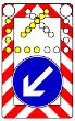VZ 616 - Fahrbare Absperrtafel mit Blinkpfeil