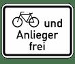 VZ 1020-12 - Fahrradfahrer und Anlieger frei