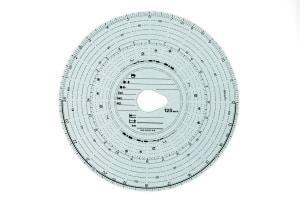 Auf einer Tachoschreibe hält ein analoger Tachograph alle wichtigen Informationen zur Fahrt fest.