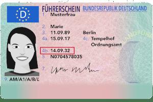 Führerschein-Muster (vorn) mit Ablaufdatum