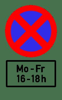 Der Geltungsbereich einer Halteverbotszone kann durch Tage oder Uhrzeiten näher bestimmt sein.