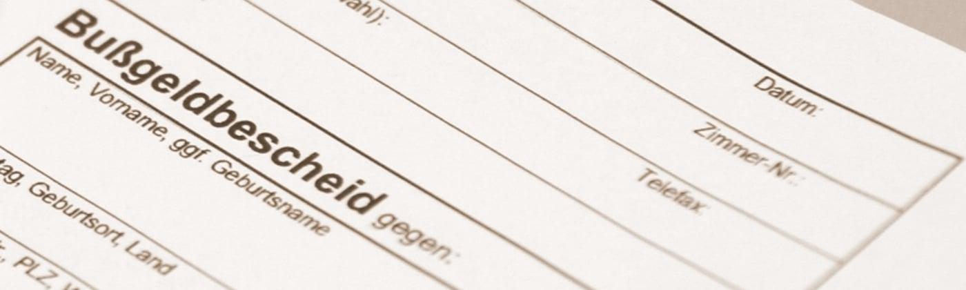 Header Bußgeldbescheid ohne Unterschrift