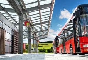Kurvenlaufeigenschaft bei Bussen: Auch hier dürfen die Fahrzeuge nicht zu stark ausschwenken.