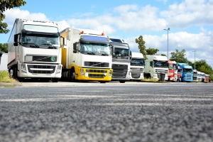 Wenn das Lkw-Fahrverbot gilt, bleiben die Fahrzeuge besser auf dem Parkplatz.
