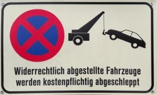 Parken Sie trotz Verbot irgendwo, kann Ihr Wagen abgeschleppt werden.