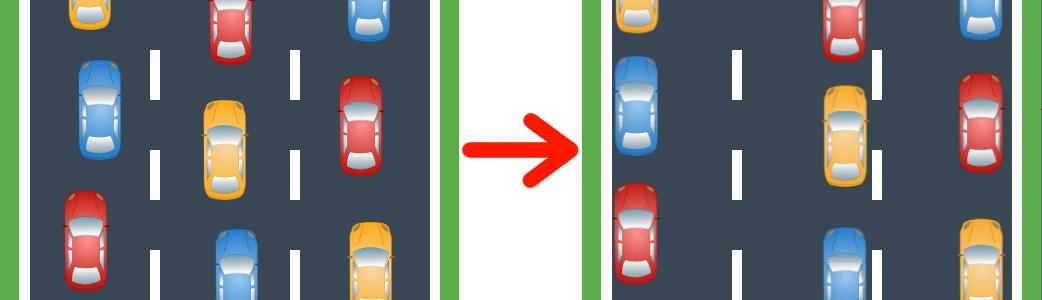 So bilden Sie die Rettungsgasse, wenn die Straße mehrspurig ist.