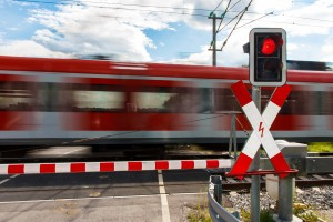 Verkehrseinrichtung: Schranke am Bahnübergang