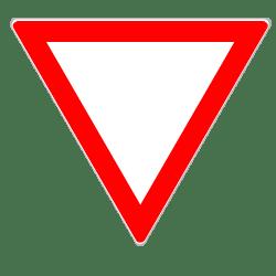Die Verkehrsregeln legen für dieses Schild eine Wartepflicht fest.