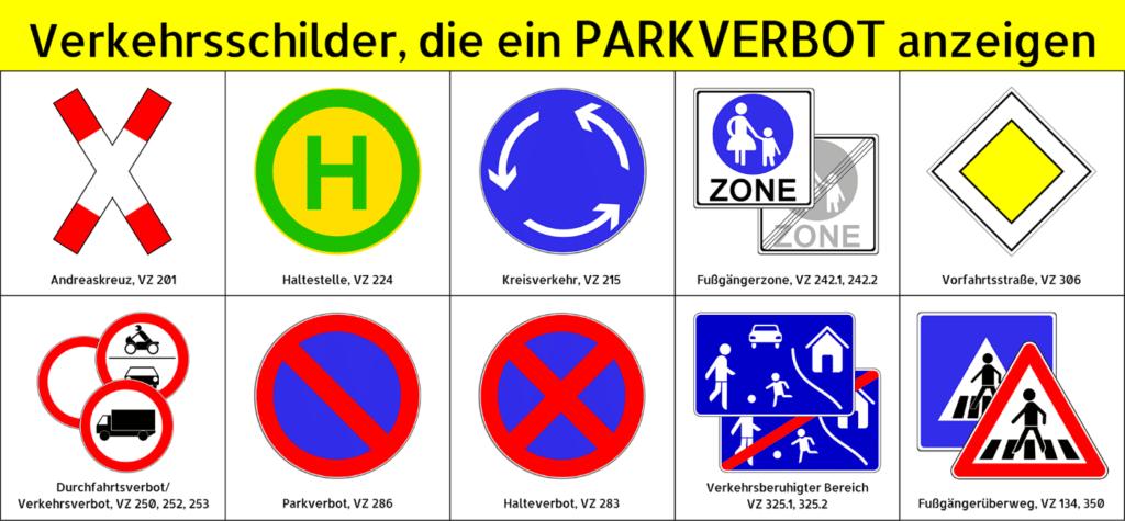 Verkehrsschilder, die ein Parkverbot anzeigen. gibt es in Deutschland allerhand.